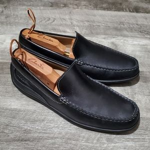 ECCO Moc Driving Loafers Black Leather Shoes